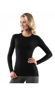 Футболка женская Soft (Woolmark) с длинным рукавом Черный Norveg — фото 1